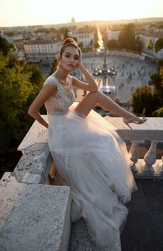 Svadobné šaty čipkované ivory šampaň