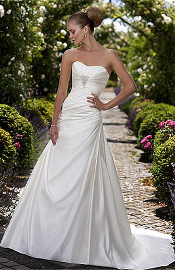 Jednoduché svadobné šaty biele saténové výpredaj